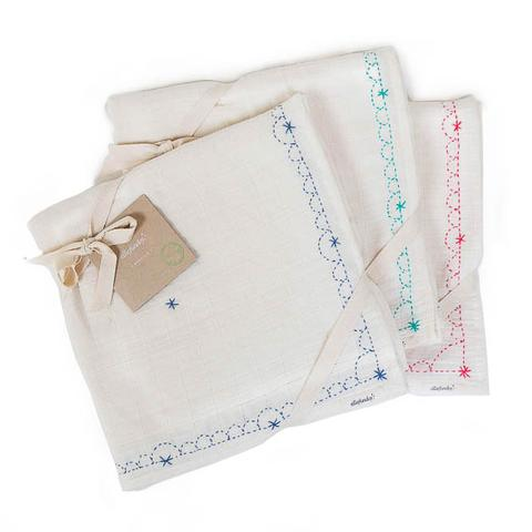 Hand-Embroidered Organic Cotton Swaddle Blanket